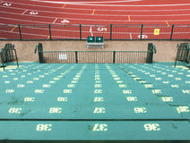 Grandstand Track View. The grandstand facing the track is ready to fill Royalty Free Stock Image