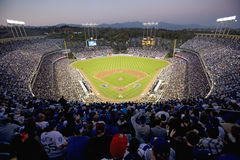 Grandstands. Overlooking home plate at National League Championship Series (NLCS), Dodger Stadium, Los Angeles, CA on October 12, 2008 stock image