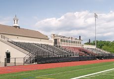 Frank Bailey Field, Union College. Grandstands for Frank Bailey Field, natural grass athletic field, home field of the Union College Dutchmen football & men`s stock photography