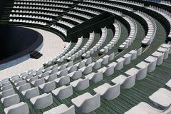 The grandstands of a modern outdoor amphitheater, a stage for small entertaining events, performances, concerts or presentations Stock Image