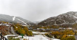 Grandvalira, El Tarter, Canillo, Andorra. Beautiful views of the ski world cup track in the first autumn snows in Grandvalira, El Tarter, Canillo, Andorra stock photo