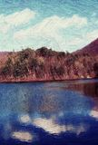 Grandview Lake painterly. Grandview Lake is reflecting the sky and autumn forest here in mid-autumn Stock Images