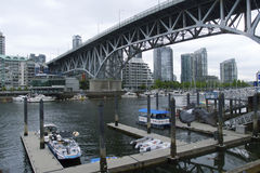 Grandville Island Bridge and Harbor, Vancouver, British Columbia, Canada Stock Photo