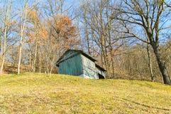 Granero abandonado en el bosque Foto de archivo