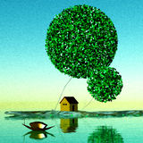 Granero debajo de árboles mágicos Imagen de archivo libre de regalías