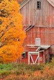 Granero dilapidado viejo del país durante otoño. Fotografía de archivo