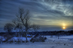 Granero en invierno Fotos de archivo