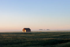 Granero en niebla de la mañana en pradera Imágenes de archivo libres de regalías