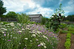 Granero histórico con el jardín de flores imagen de archivo