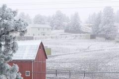 Granero rojo en invierno foto de archivo libre de regalías