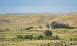 Granero rojo en rancho Fotografía de archivo libre de regalías
