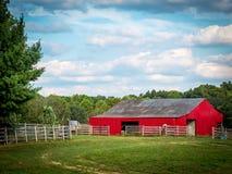 Granero rojo en verano Fotografía de archivo
