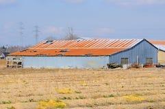 Granero viejo en un campo de granja imágenes de archivo libres de regalías