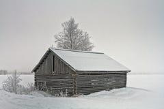 Granero y abedul en los campos Nevado Imagen de archivo