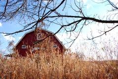 Granero y trigo rojos del otoño imagen de archivo libre de regalías