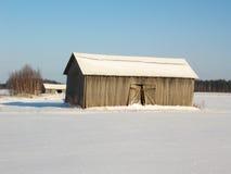 Graneros en invierno foto de archivo
