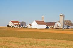 Graneros y silos en la granja de Amish Foto de archivo
