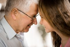 Granfather granddaughter royalty free stock images