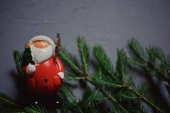 granfilial och leksak Santa Claus på mörk bakgrund, kopieringsutrymme royaltyfri bild