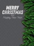 Granfilial på genomskinlig bakgrund Glad jul och lyckligt stock illustrationer