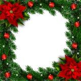 Granfilialer semestrar ramen med julstjärnan och prydnader royaltyfri illustrationer