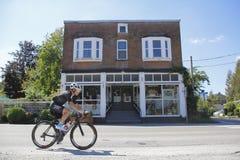 GranFondo Cyclist in Historic Clayburn Stock Photography