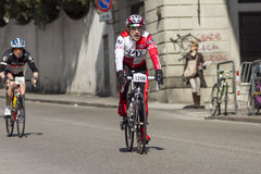 FLORENCE, ITALY - MARCH 2: Competitor during the Granfondo Firenze DeRosa race Royalty Free Stock Photography