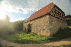 Grange à colombage historique dans Pfaffenhofen, Palatinat supérieur, Allemagne photographie stock