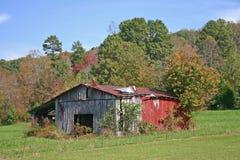 Grange avec le toit d'épluchage Photo stock