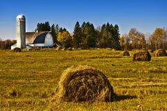 Grange avec Rolls de foin, le Wisconsin Photographie stock