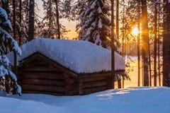 Grange de coucher du soleil Images libres de droits