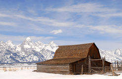 Grange de Moulton en stationnement national de Teton Photo stock