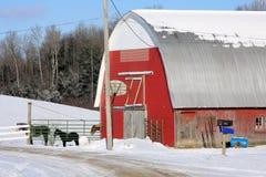 Grange du Vermontn avec des chevaux Photo stock