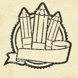 Grange emblem with pencils on white Royalty Free Stock Photography