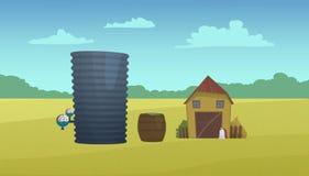 Grange et réservoir d'eau de pays Photos libres de droits