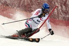 GRANGE Jean-Baptise. BANSKO, BULGARIA - FEBRUARY 26 : GRANGE Jean-Baptise (FRA) attacks a gate during Audi FIS Alpine Ski World Cup Men's Super Combined - Slalom Royalty Free Stock Images