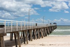The grange jetty with a blue sky and white fluffy clouds at Gran. Ge South Australia on 7th November 2018 stock photos