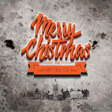Grange retro old-looking Christmas card. On aged stained paper with classic elements as background with merry Christmas and happy new year greeting in the Royalty Free Stock Image