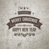 Grange retro old-looking Christmas card on aged stained paper Stock Photo