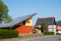 Grange with solar panels Stock Images
