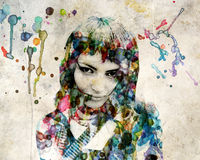 Grange watercolor girl Stock Photo