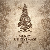 Grange wrinkled scratched old-looking Christmas card Royalty Free Stock Image