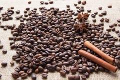 Grani caffè, cannella e anice stellato Fotografia Stock