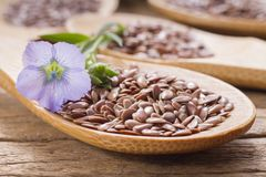 Grani del seme di lino sulla tavola Fotografia Stock Libera da Diritti