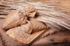 Grani di grano in borse Immagini Stock