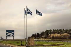Granica między Anglia i Szkocja - A1 droga zdjęcia stock