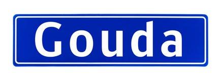 Granica miasta znak Gouda holandie Zdjęcia Royalty Free