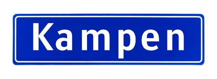 Granica miasta znak Kampen holandie fotografia stock