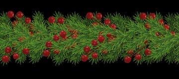 Granica realistyczne przyglądające choinek gałąź dekorował z jagodami dla bożych narodzeń i nowy rok odizolowywa, wakacyjna dekor royalty ilustracja