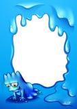Granica z błękitnym potworem stawia czoło ziemię ilustracja wektor